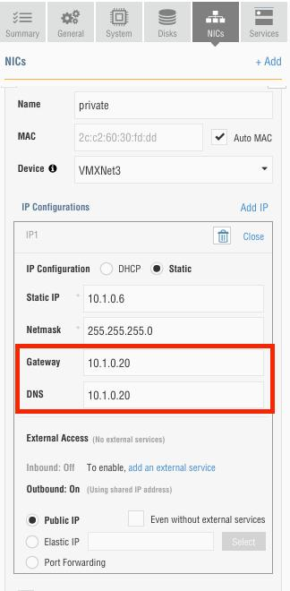 Figure 16: Update the Gateway and DNS addresses of all VMs with external traffic 6.
