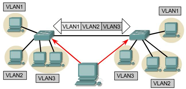 VLAN frame format. VLAN Tagging q ProtoID: 0x8100 (16 bits) q VLANID: 12 bits (4K different VLAN ids) q VLAN Tagging is used when a single link needs to carry traffic for more than one VLAN.