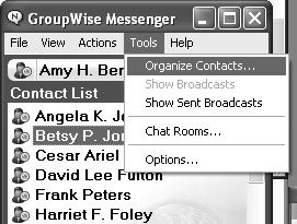 13. In the Tools drop down menu, choose Organize Contacts.... The Organize Contacts window appears. 14.