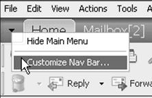 Navigation Bar The Navigation Bar at the top of the GroupWise window contains the items used most frequently.