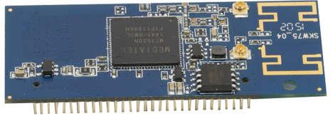 1. General Description The SKW75 module includes an 802.11n MAC and baseband, a 2.4GHz radio and FEM, a 580MHz MIPS CPU, a 5-port 10/100 fast Ethernet switch.