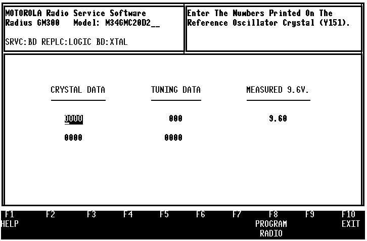 GM300 Radio Service Software Manual Servicing Features Calibration 9.3.3 Reference Crystal Data (F2) The first calibration screen is REFERENCE CRYSTAL DATA (Figure 9-10).