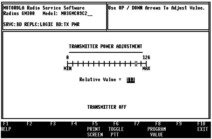 Servicing Features GM300 Radio Service Software Manual Calibration 9.3.4 Transmitter Power Set (F3) The next screen is the TRANSMIT POWER ALIGNMENT (Figure 9-11).
