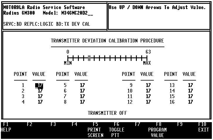 GM300 Radio Service Software Manual Servicing Features Calibration 9.3.7 Calibrate Deviation (F6) The next figure is the CALIBRATE DEVIATION screen (Figure 9-14).