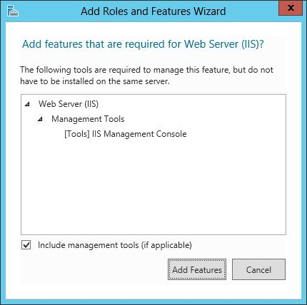 Preparing for Installation 4 Add Roles and Features Wizard click on Add Features. 5 In the Web Server (IIS) windows, click Next.