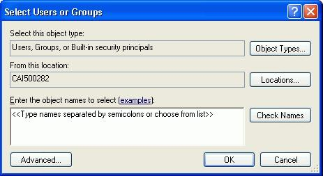 The following window appears: Select the computer or domain at the Look in field, and then select the users or user groups to which you want to