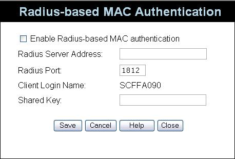 Wireless Access Point User Guide Radius-based MAC authentication Screen This screen will look different depending on the current security setting.