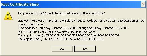 Wireless Access Point User Guide 9. Certificate setup is now complete. Figure 48: Root Certificate Screen 802.1x Authentication Setup 1.