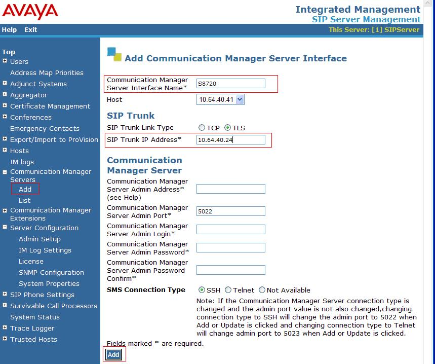 6.2. Configure Communication Manager Servers This section provides steps to add SIP-enabled media servers to the SIP domain.