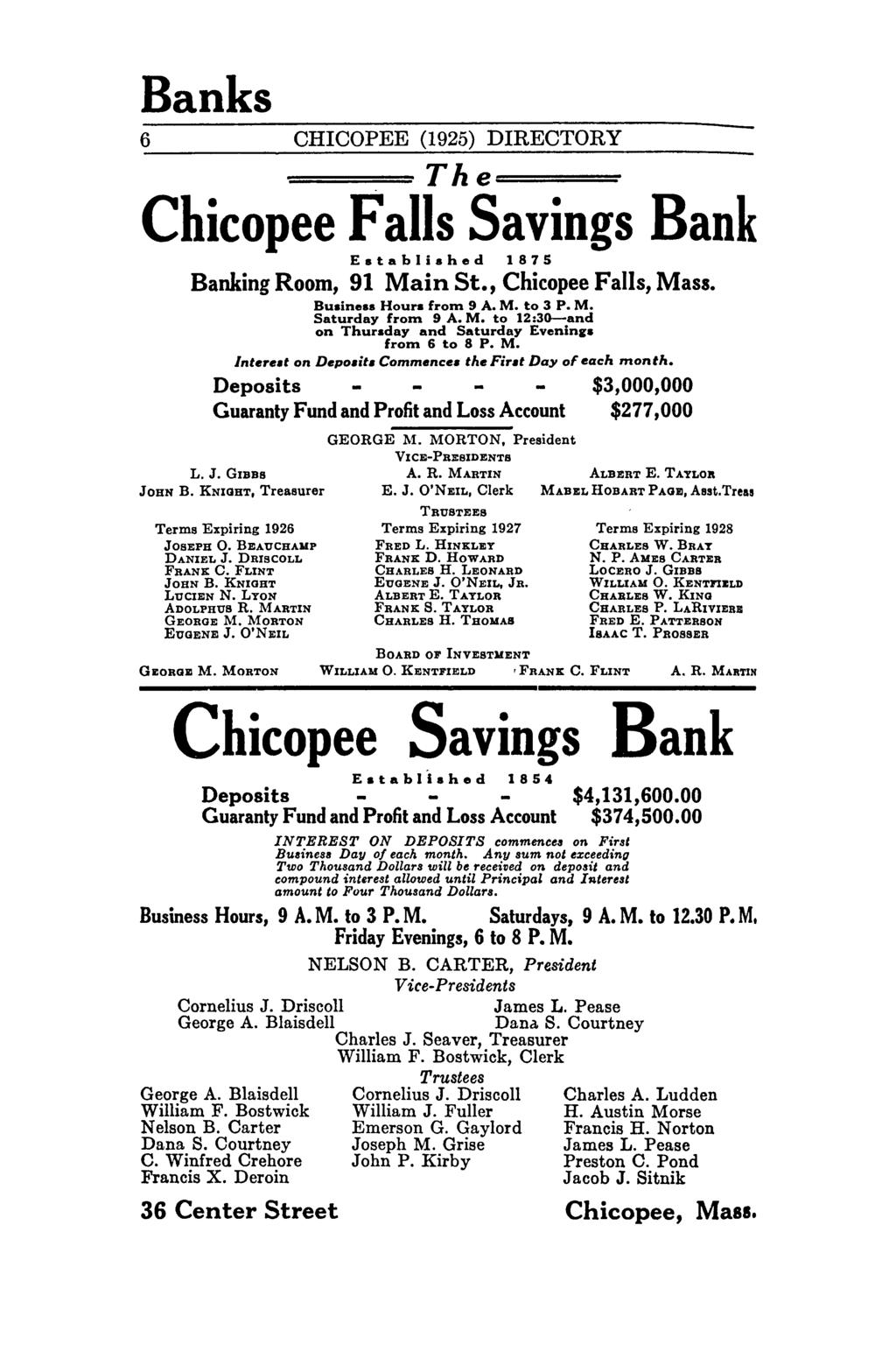 "Banks 6 CHICOPEE (1925) DIRECTORY The===- Chicopee Savings Bank Established 1875 Banking Room, 91 Main St., Chicopee, Mass. Bu.ine.s Hour. from 9 A. M. to 3 P. M. Saturday from 9 A. M. to 12:3G-and on Thursday and Saturday Evenin""."