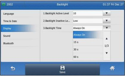 Customising Your Phone General Settings Backlight Backlight has three options: 1. Backlight Active Level: The intensity of the LCD screen when the phone is active.