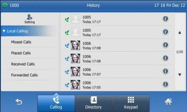 Placing Calls from Call History To place a call from the Call History list: 1. Tap. The touch screen displays all call records. 2. Tap or to turn pages. You can also press or to switch pages.