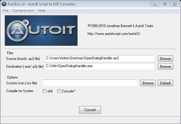 Integration with Other Tools Creating the AutoIt script Let's create an AutoIt script that works with the Open dialog box. 1. Launch SciTE Script Editor from Start AutoIt. 2.