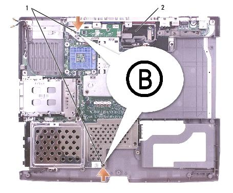 "System Board: Dell Latitude D505 Service Manual 1 M2.5 x 5-mm screws labeled ""B"" (2) 63PDH 2 system board W3344 10."