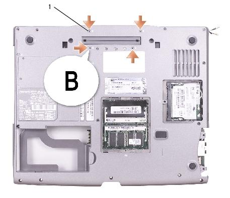 "System Board: Dell Latitude D505 Service Manual 1 M2 x 4-mm screws labeled ""B"" (4) 98MKC 11."
