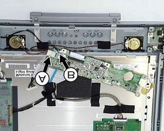 Disconnect the speaker cable assy (A) and the brightness control