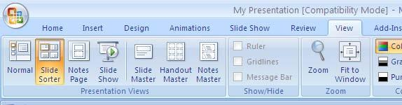 Navigate in Slide Sorter View Center for Faculty Development and Support There are a couple of