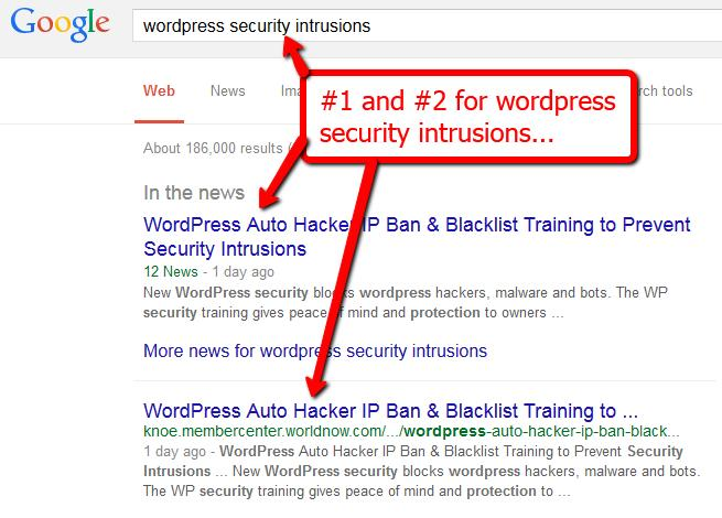 Get Overnight Rankings With The Google Hijack Method 4 Wordpress Security Training For another product in the same highly competitive niche these rankings were achieved in under 24 hours.