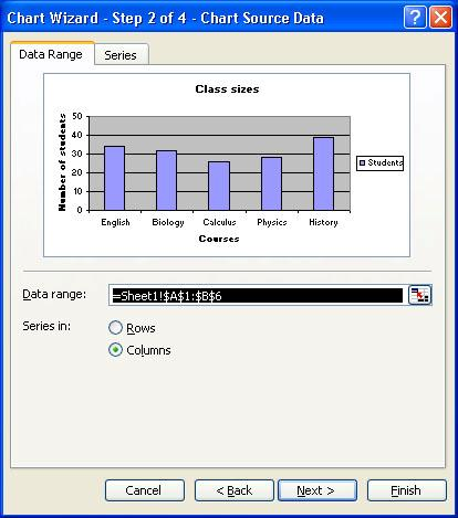 4. In the Chart Source Data dialog box: Select the data range in case different from the area highlighted in step 1 and click Next. 5.