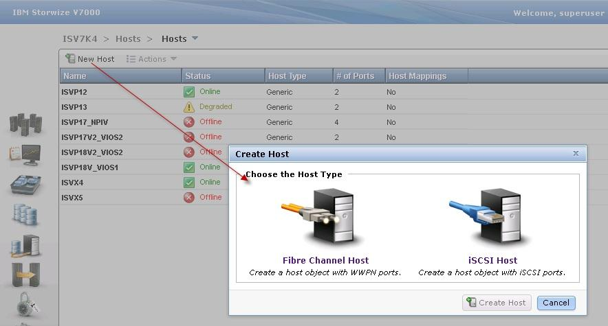 Figure 12: Create a Fibre Channel host 3.