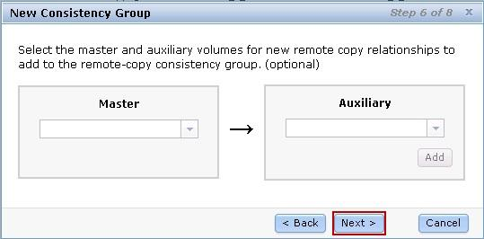 Click Next to continue or add additional master and auxiliary volume to create new