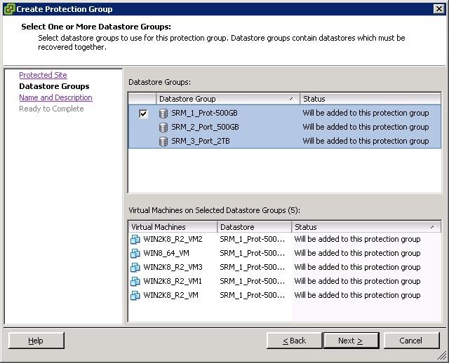 4. Select the data store group from the list and click Next (as shown in Figure 68). Figure 68: Select One or More Datastore Groups page 5.
