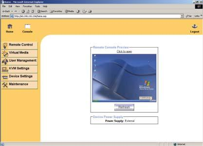 into the web browser to remote access the IP KVM switch.