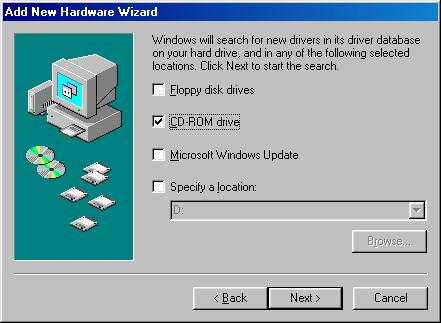 The window appears, as shown below. 7 Select CD-ROM drive only, as shown. Click Next.