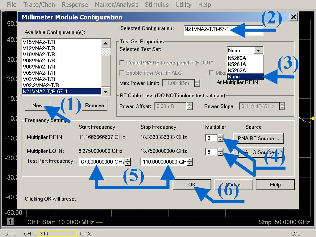Millimeter Module Configuration By default, the PNA will display in this Millimeter Module Configuration the default Start & Stop Frequency of the vector network analyzer.