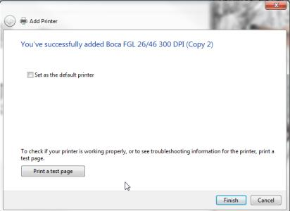 tton. b. Windows 7 - Do not click on Print a test page.