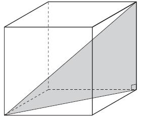 MA.912.G.5.4 26. Matthew correctly constructed a model of a right triangle with the largest dimensions possible to fit in a cube, as shown in the figure below.