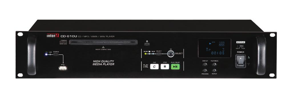 INTER-M CD Player Line-up CD-610U USB hosting Slot-In type 1 Disk CD player MP3/WMA/WAV AMX & CRESTRON interface (RS-232) DC 24V Suppont firmware update Dimension and Weight: 482(W) x 88(H) x