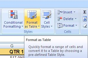 Table Formatting You can now easily format a large data sheet. This is similar to the table formatting available in Word as shown earlier in this class.