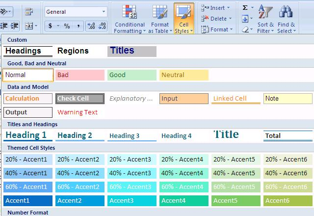 Using Excel Styles for Formatting Excel also has styles that can be applied to your file.