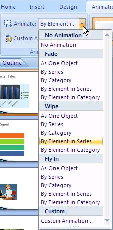 Animation Options The illustrations below display some of the animation options available for the variety of objects you can insert into