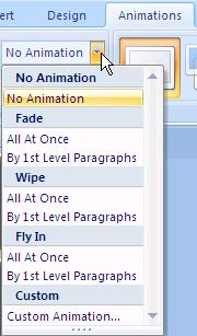 Select Custom Animation. The Task Pane displays animation options on the right side of the PowerPoint screen. 4.