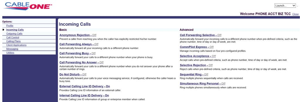 Incoming Calls Incoming Calls allows you to manage how you want a user s incoming calls handled by your phone system.