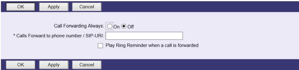 2. Call Forwarding Always Automatically forward all incoming calls to a different phone number. STEP 1 Click Incoming Calls-> Call Forwarding Always. STEP 2 To Enable, select On.