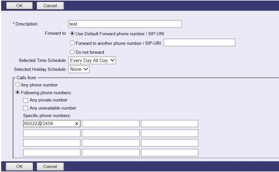 STEP 2 Determine the correct dialing patterns (7, 10, or 11) STEP 3 STEP 4 Enter the phone number the user wishes to forward to in the Default Call Forward to/ SIP-URI box.