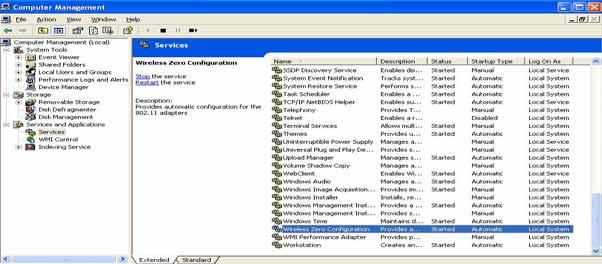 B. The Computer Management window comes up. Select Services from the Services and Applications menu.