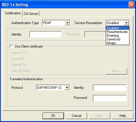 (C) Add Profile: 802.1x IEEE 802.1x supports true authentication and user control.