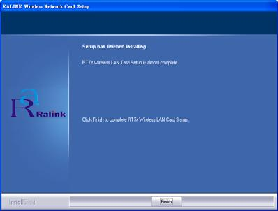- In Windows XP and 2000, click Finish to complete the installation.