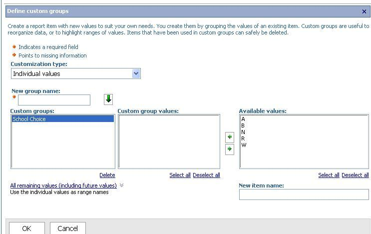 3. The progression for adding the custom groups by using the Individual values option is to first name the