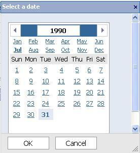 Note: Options of Select Values and Define a Range will be available on same data items. When the Select a date link is clicked, a calendar appears for the date to be selected. 3.