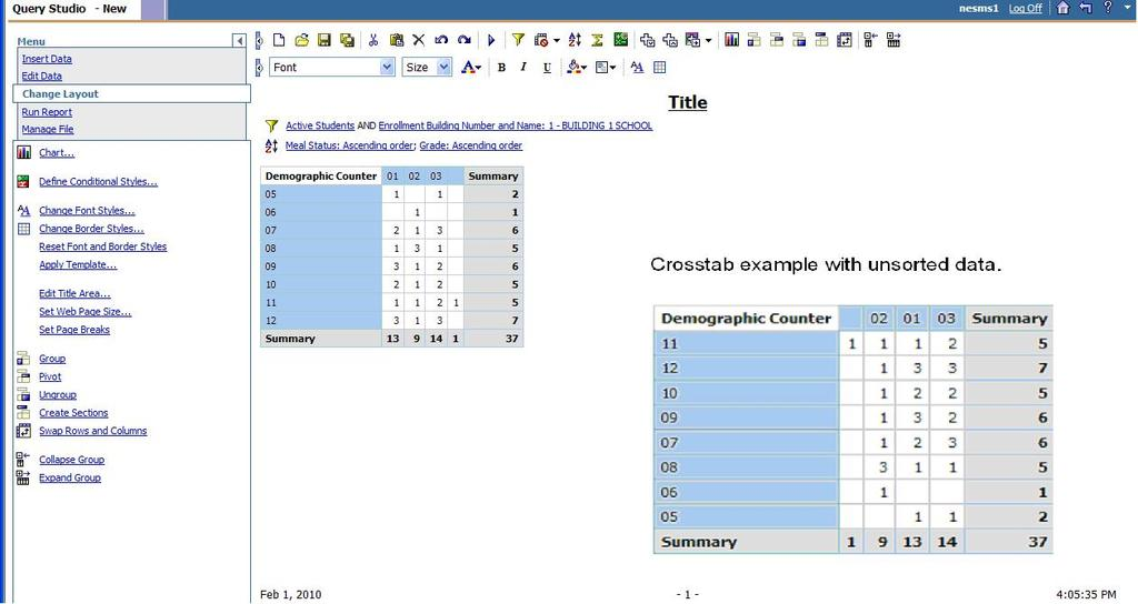 Example of a crosstab Notice the difference between the crosstab that has sorted data and the crosstab with unsorted data.
