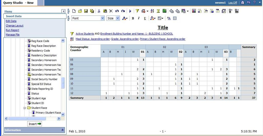 2. More items can be added to the report by pulling items into either the rows or columns.