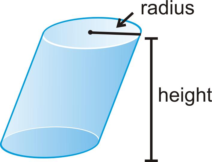 Cylinder: A solid with congruent circular bases that are in parallel planes with the space between the circles is enclosed.