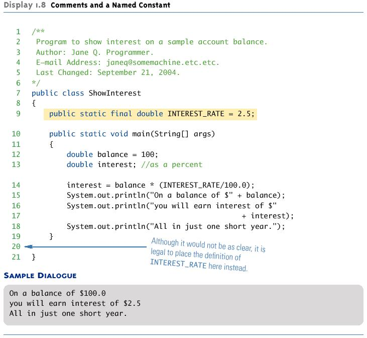 Program Documentation Comments and a Named Constant Java comes with a program called javadoc that will automatically extract documentation from block comments in the classes you define As long as