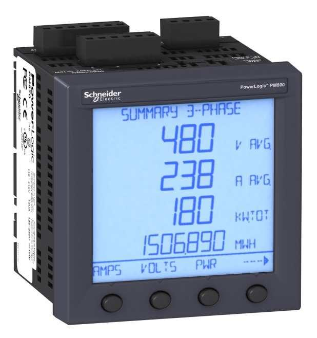 PowerLogic PM800 series power and energy meters Intermediate, revenue-accurate meter with PQ compliance monitoring and modular options for logging, I/O, and Web server Four models for incremental