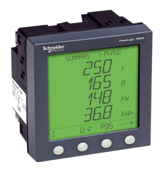PowerLogic PM200 series power and energy meters Compact, easy-to-use, cost-effective meter for monitoring electrical installations and measuring and controlling energy costs Measure efficiency,